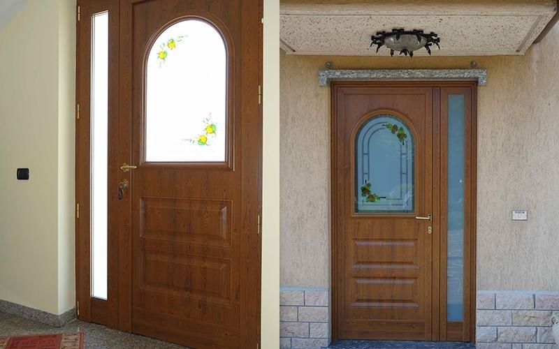 Portoncini di ingresso in alluminio brembate di sopra bergamo still alluminio serramenti - Porte in legno con vetro decorato ...