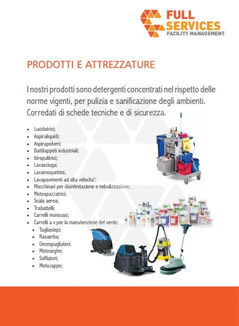 una brochure con scritto Full Services Prodotti e attrezzature