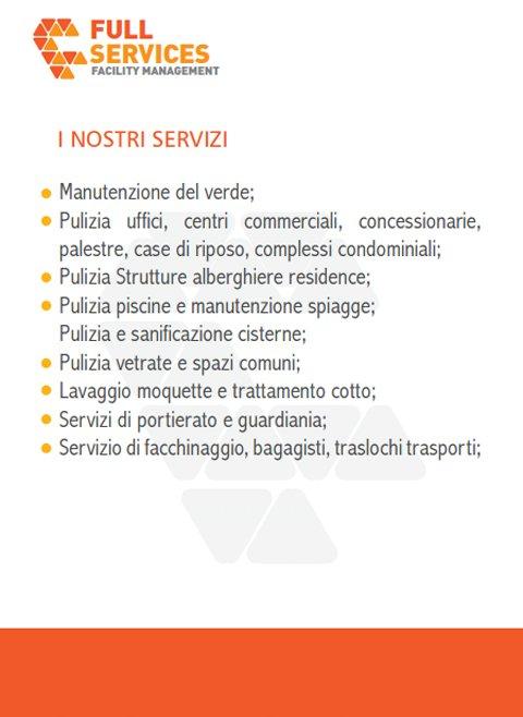 una brochure con scritto Full Services e i servizi offerti