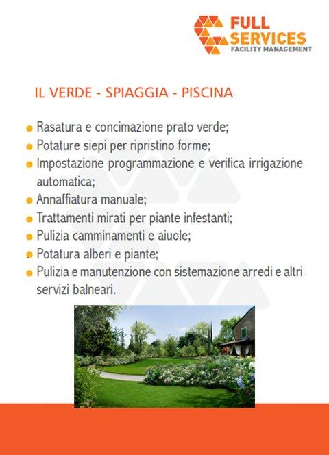 una brochure con scritto Full Services Il Verde, Spiaggia, Piscina
