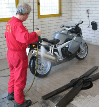 Motorcycle wash by hand