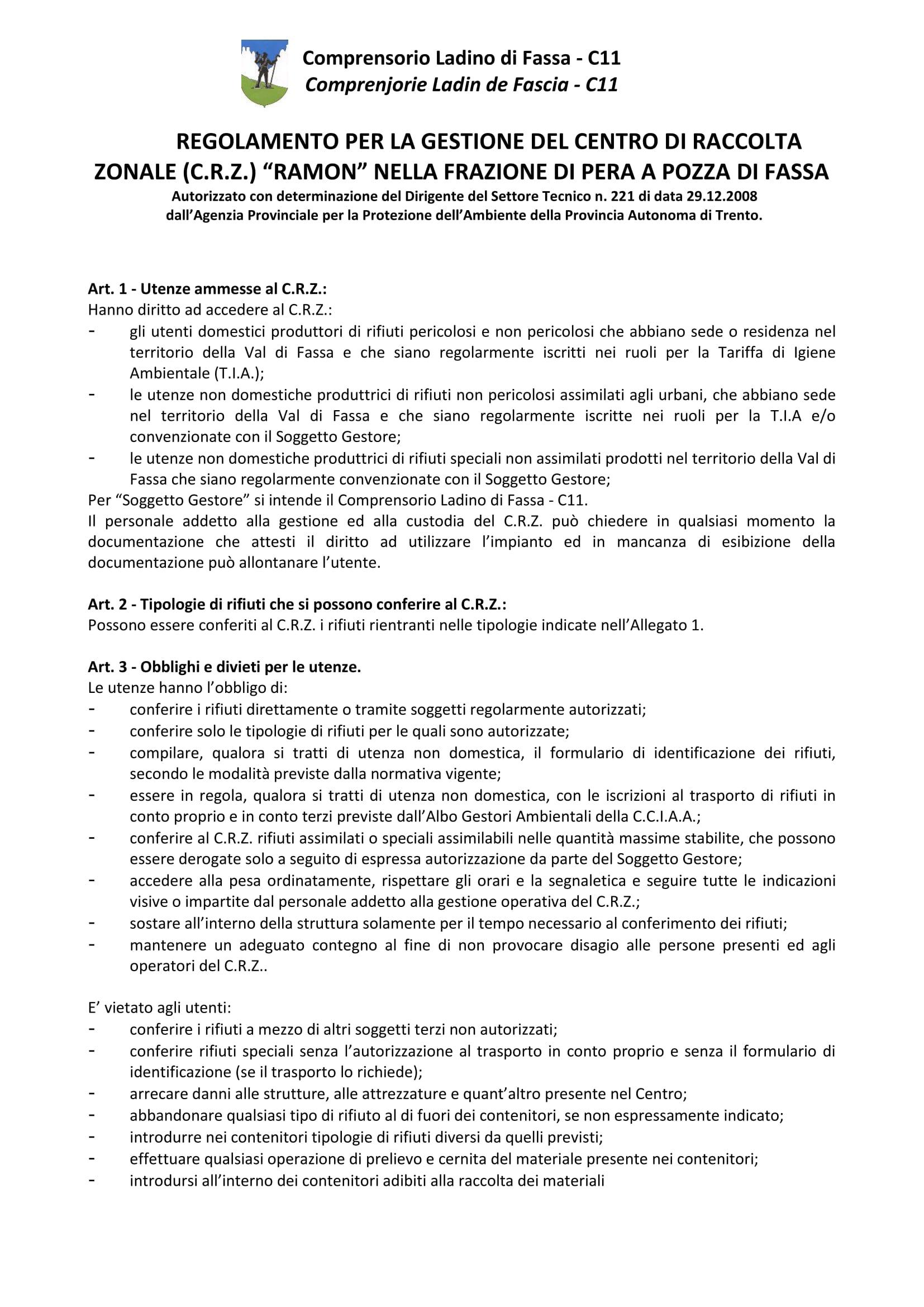 Prima pagina del regolamento CRZ