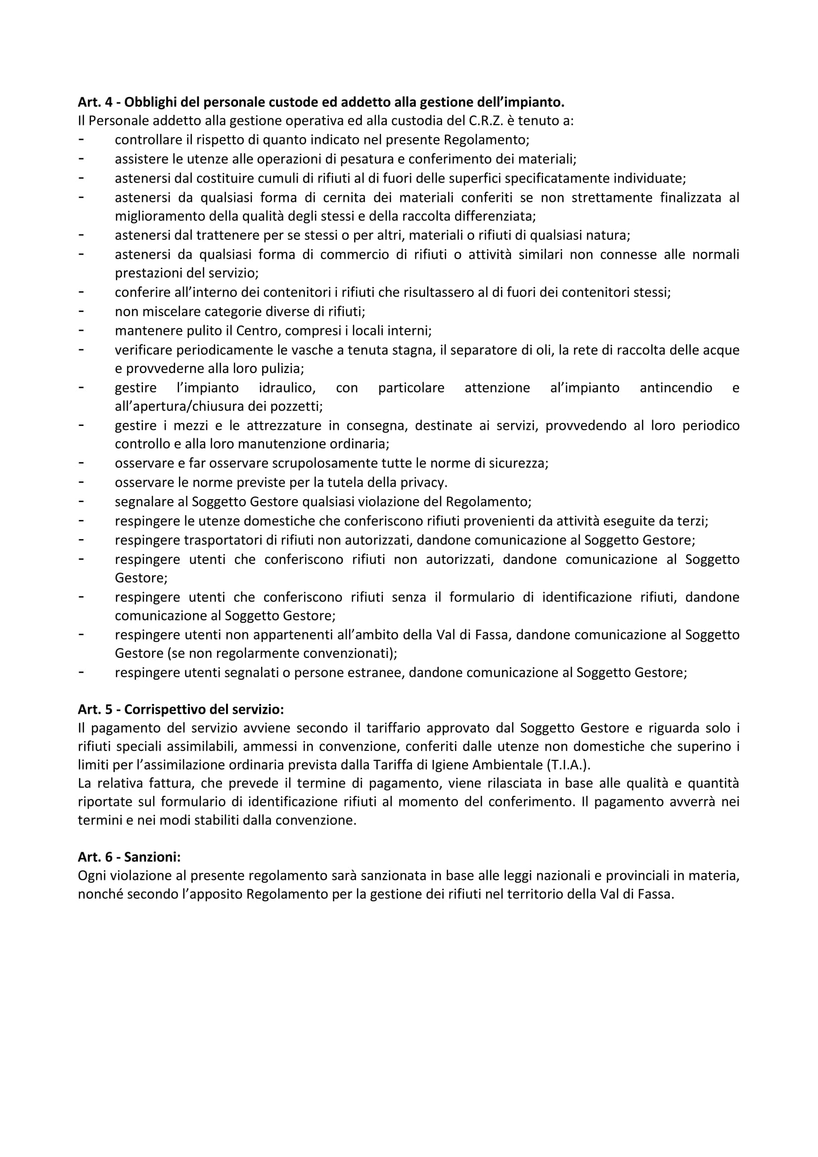 Seconda pagina del regolamento CRZ