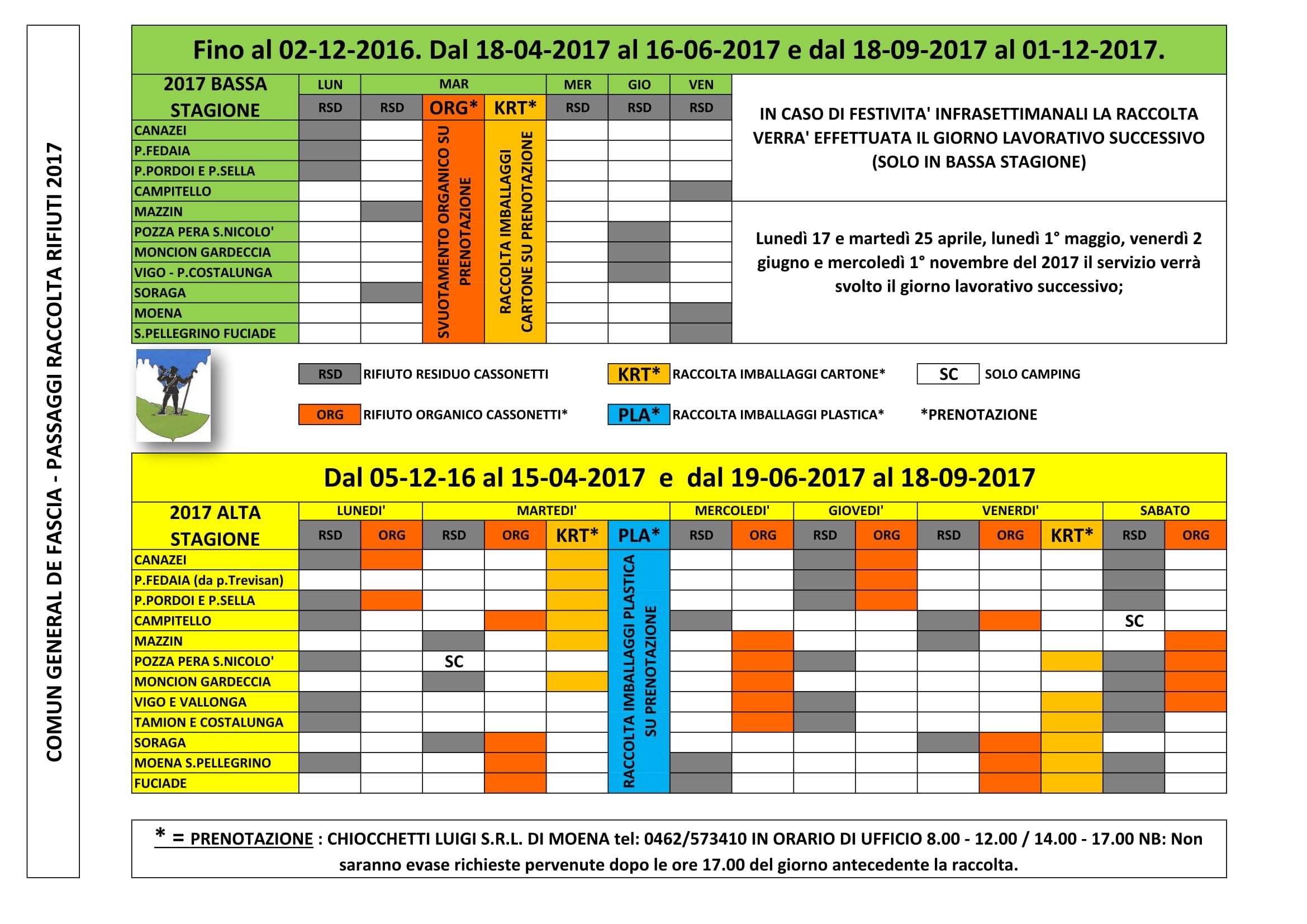 Calendario dello svuotamento dei cassonetti 2017