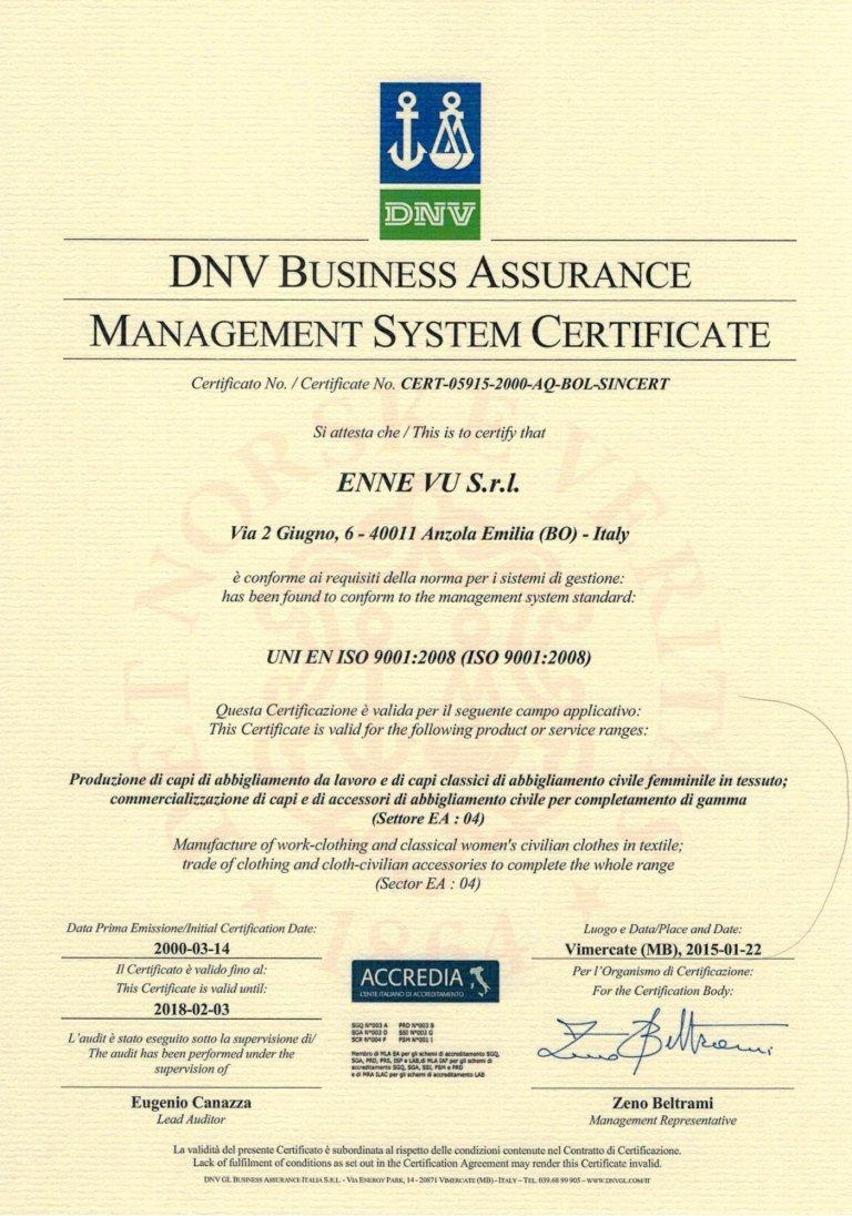 Certificazione sistema di qualità