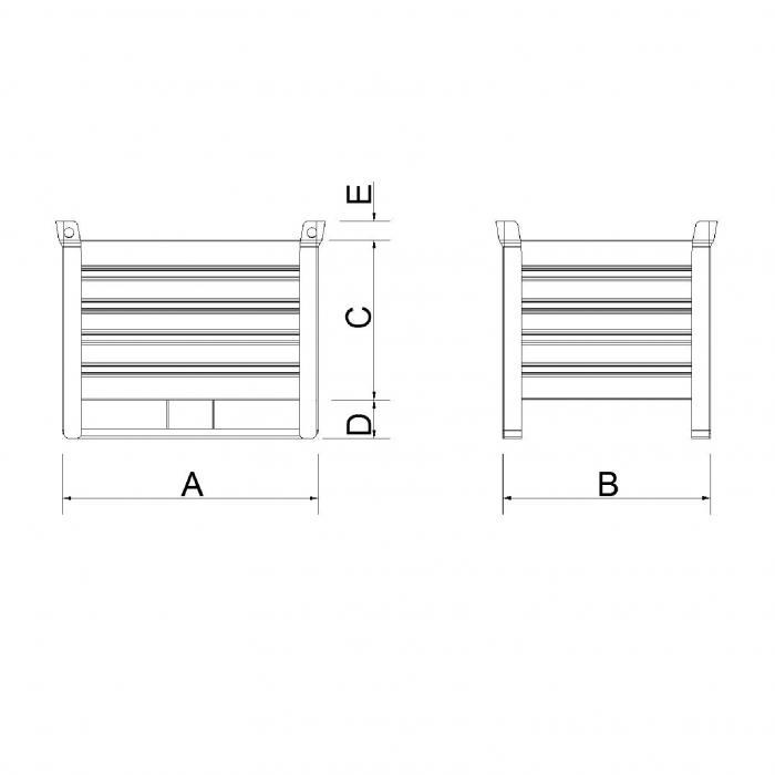 struttura contenitore versione leggera slitta lato lungo