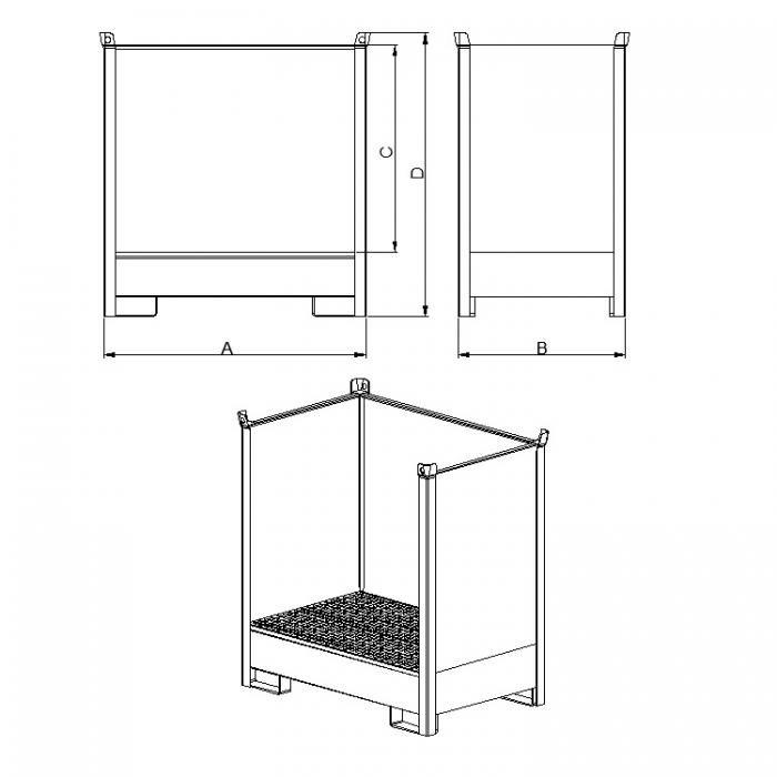struttura contenitore accatastabile con vasca di raccolta con tre lati in lamiera