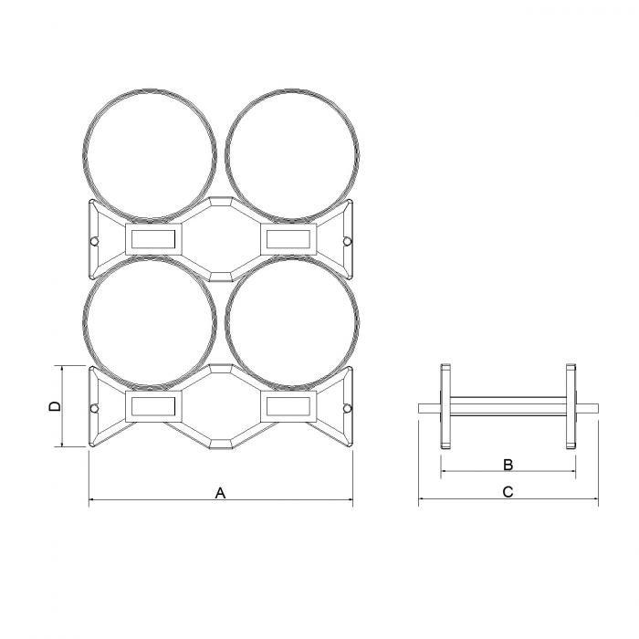 disegno tecnico struttura porta fusti