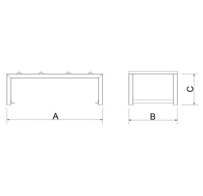 struttura contenitore porta fusti in tubolare
