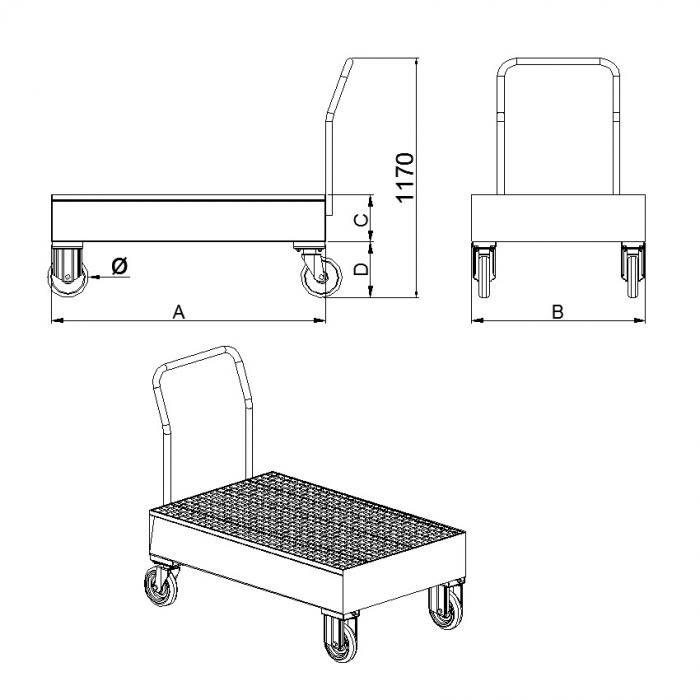 struttura carrello con vasca di raccolta