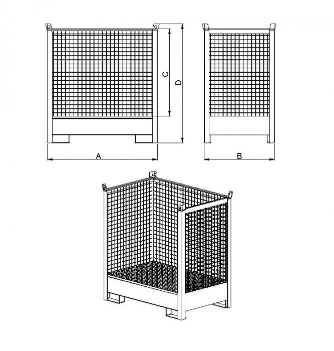 struttura contenitore accatastabile con vasca di raccolta con tre lati in rete