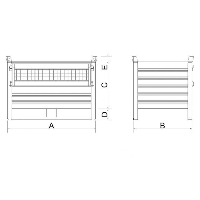 struttura contenitore versione leggera slitta lato lungo sportello in rete