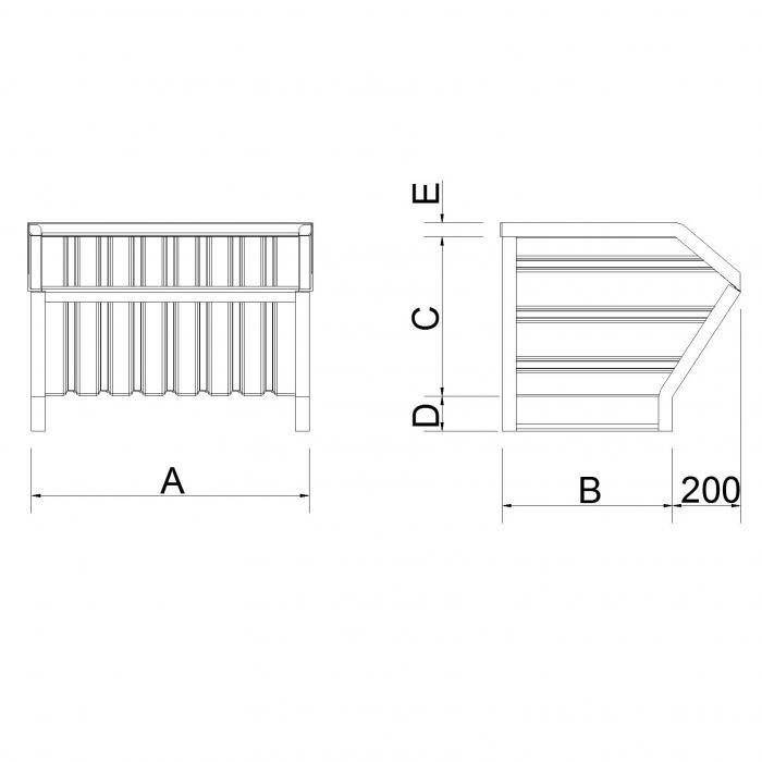 struttura contenitore versione a bocca slitta lato corto secondo modello