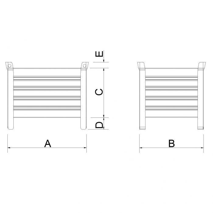 struttura versione leggera slitta lato corto con parete bassa