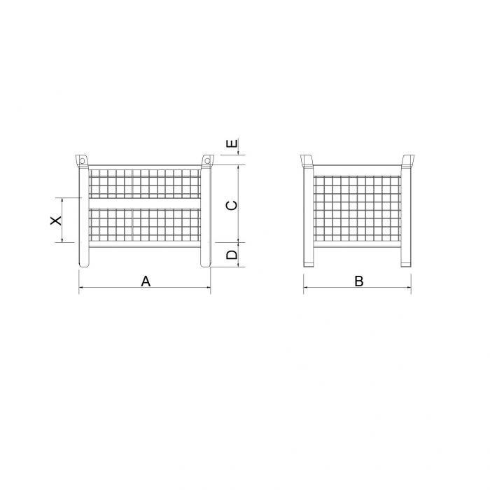struttura contenitore versione leggera senza slitta con parete bassa