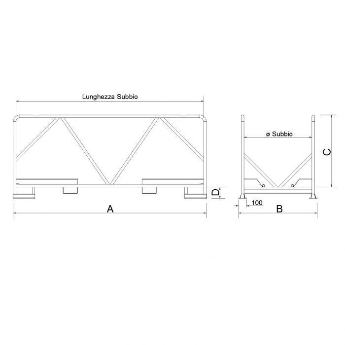struttura contenitore per subbi di tessitura