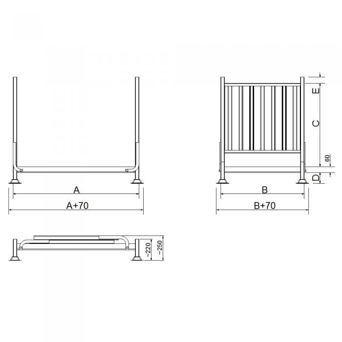struttura contenitore versione con due sponde e fondo in lamiera