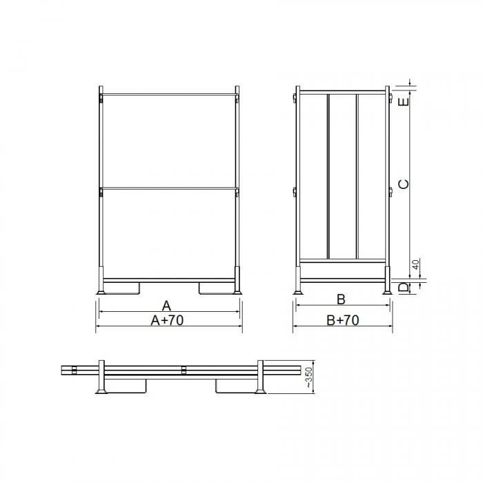 struttura contenitore versione con due sponde e traversi in tubolare asportabili