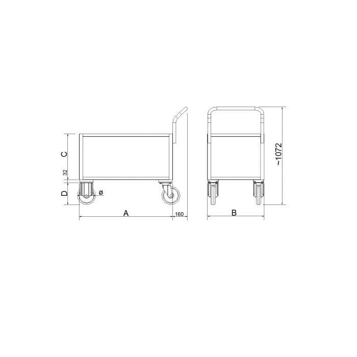 struttura carrelli di servizio versione a due ripiani con lamiera