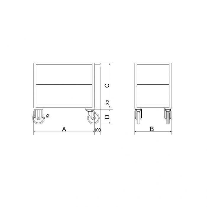 struttura carrello versione a tre ripiani in lamiera