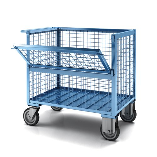 carrello versione con sponde e sportello in rete