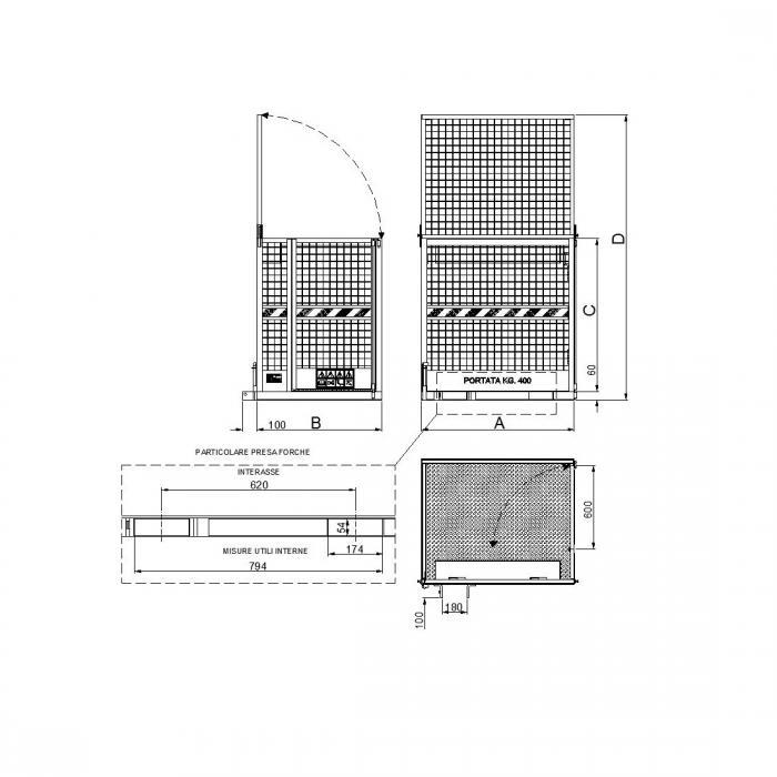 struttura cestello per manutenzione aerea