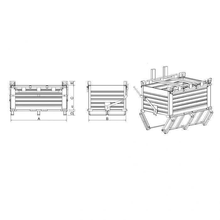 struttura contenitore basso a fondo apribile