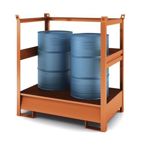contenitore accatastabile con vasca di raccolta aperto su tutti i lati