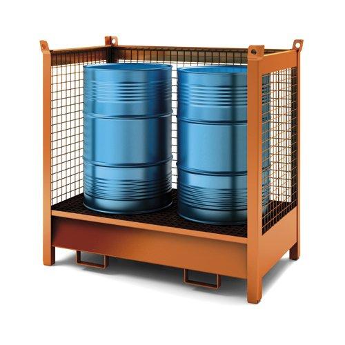 contenitore accatastabile con vasca di raccolta con tre lati in rete