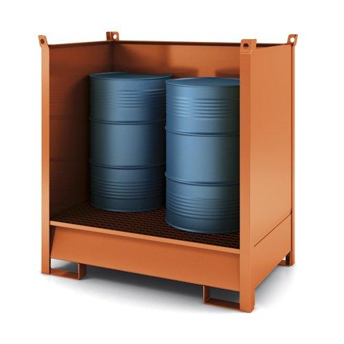 contenitore accatastabile con vasca di raccolta con tre lati in lamiera