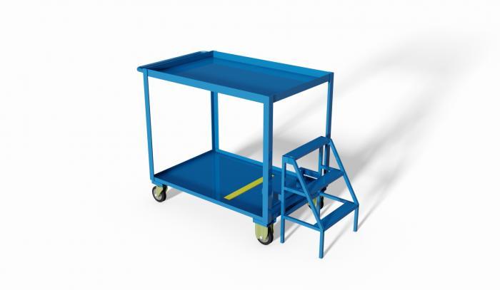 carrello di servizio a due ripiani compreso di scaletta per facilitare il picking