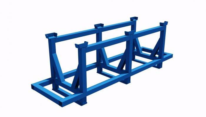struttura in tubolare metallico impilabile porta barre