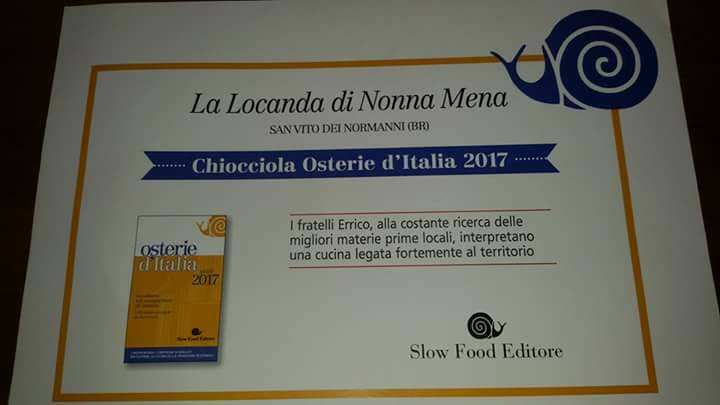 il riconoscimento Chiocciola Osterie d'Italia a La Locanda Di Nonna Mena
