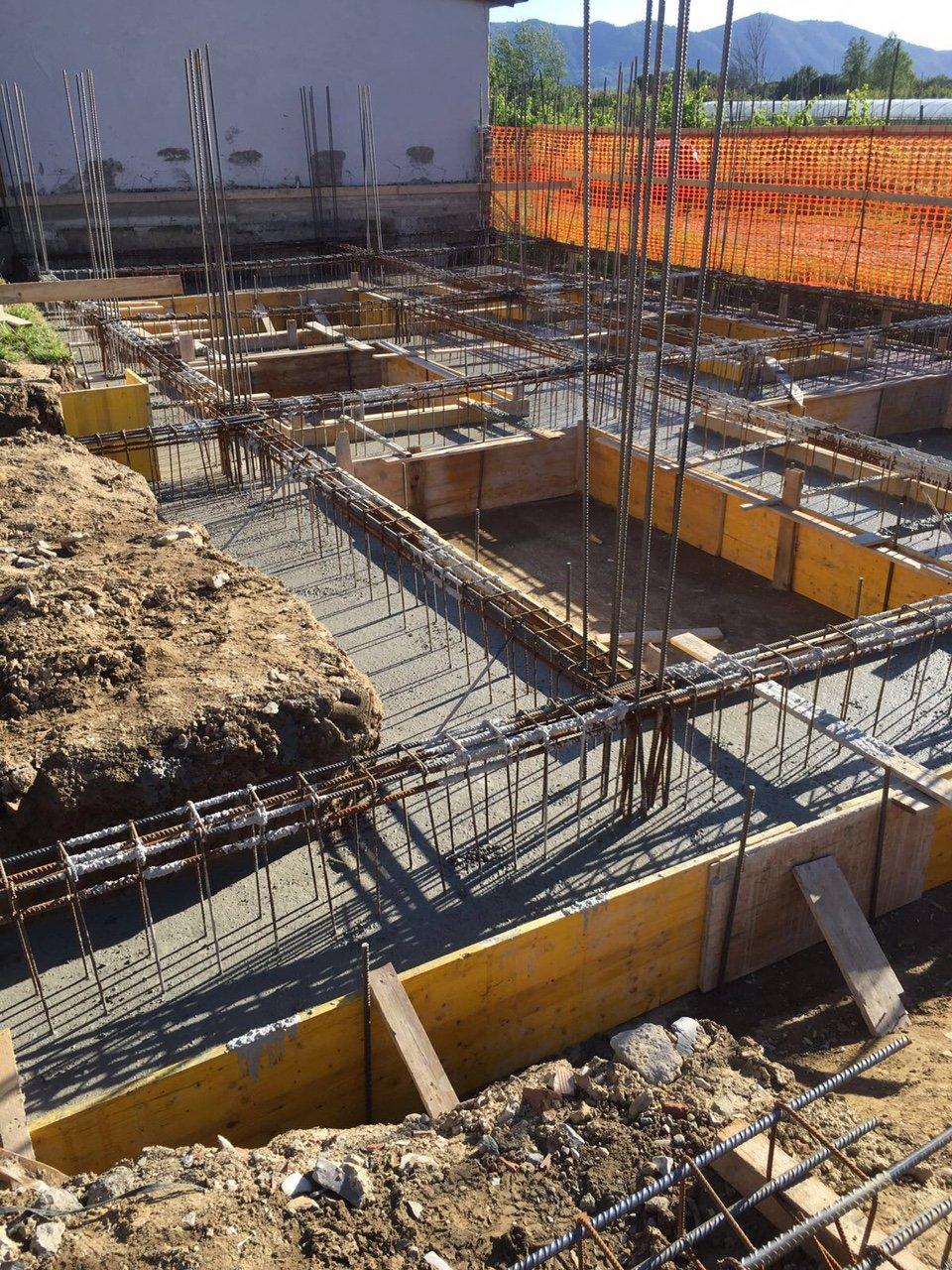 Fondamenta di un edificio in costruzione