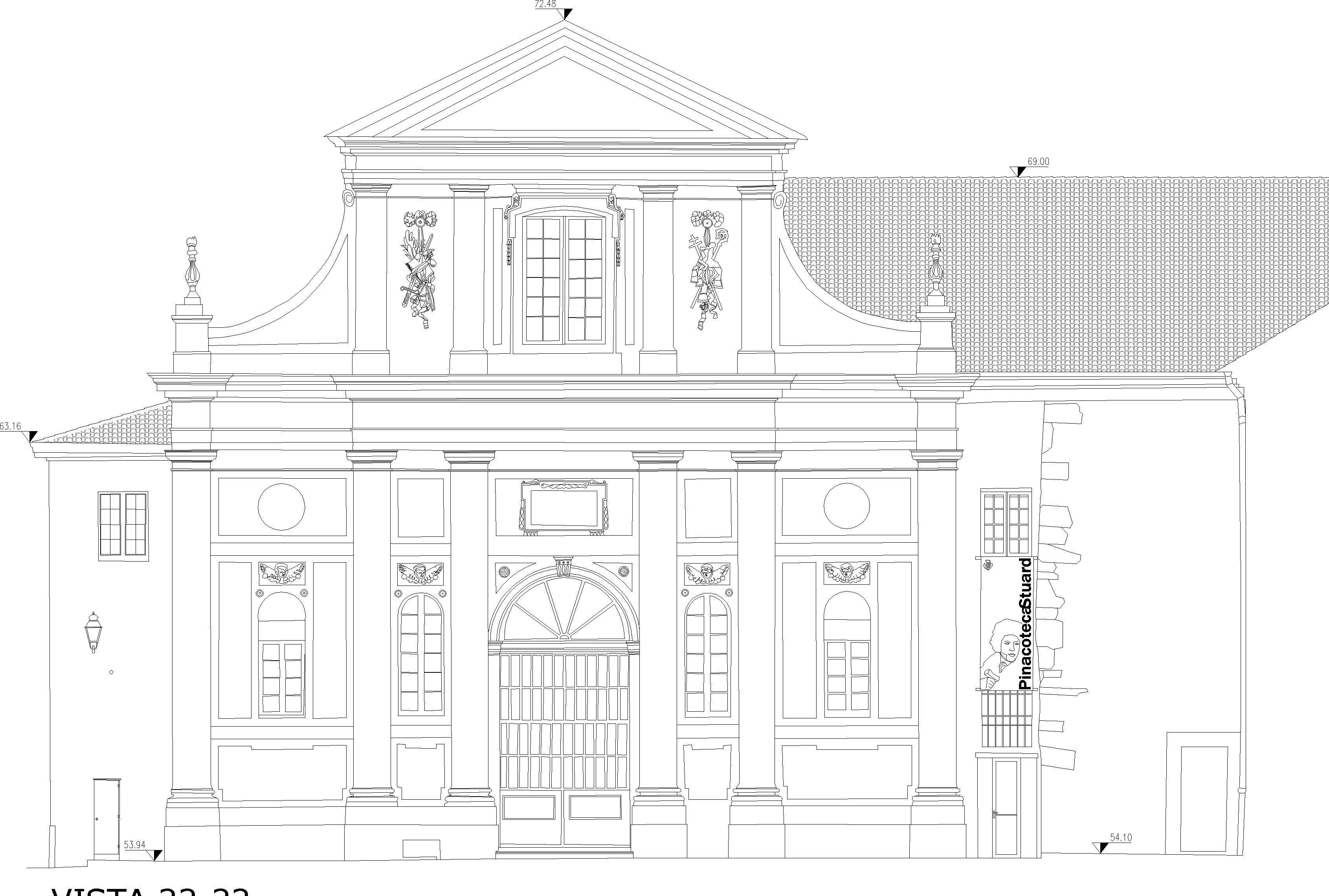 Disegno della facciata di un edificio rinascimentale