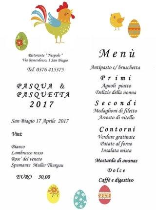 menu pasqua ristorante