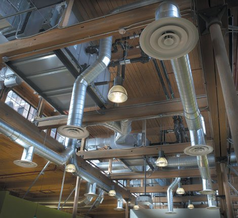 ductwork installed in commercial kitchen