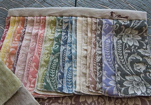 Campionatura di colori di tessuto ricamo per tende o sofà