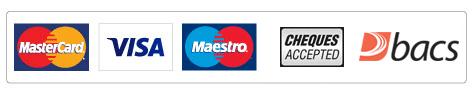 Mastercard, Visa, bacs logos