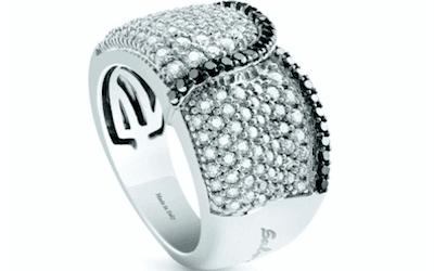 anello in oro bianco e diamanti salvini