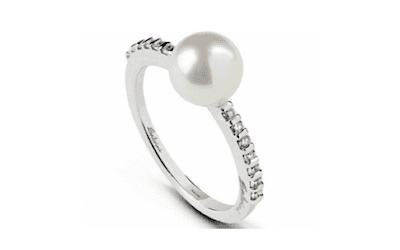 anello con perle e diamanti bergamo