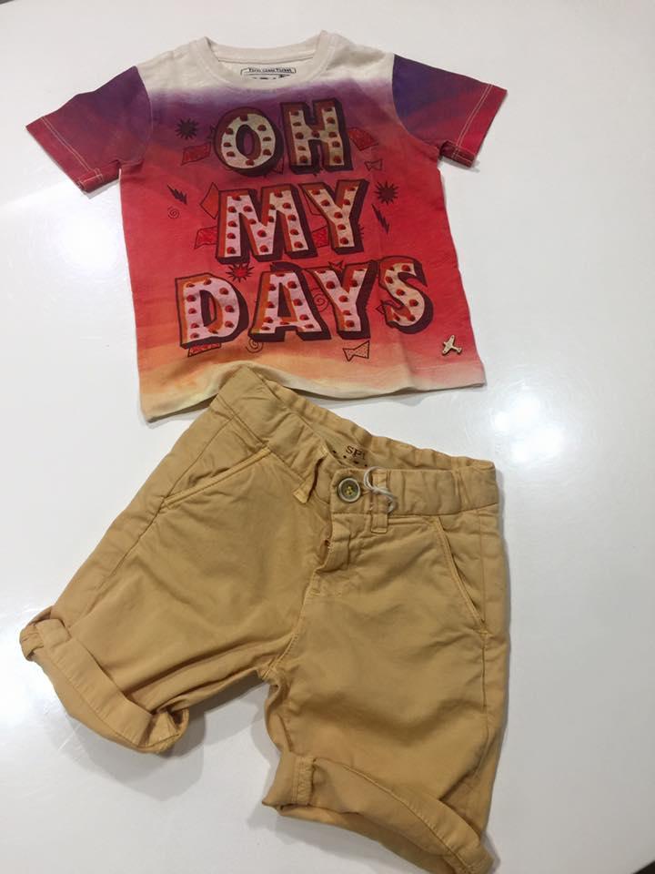 dei pantaloncini beige e una maglietta da bambino con scritto oh my days