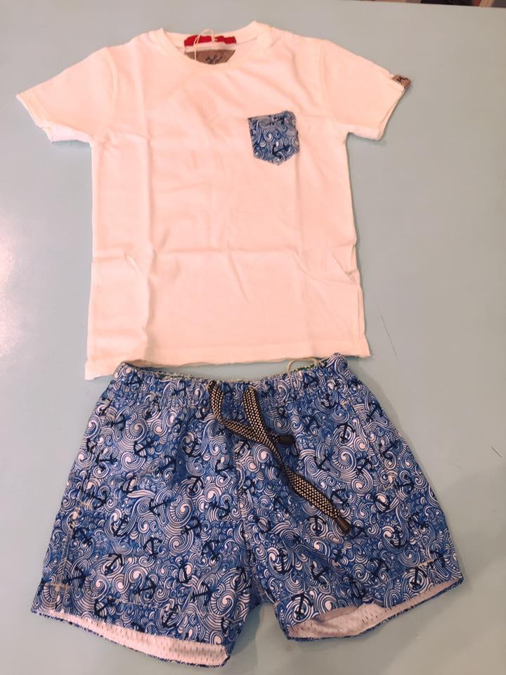 un paio di pantaloncini di color blu e una maglietta di color bianco