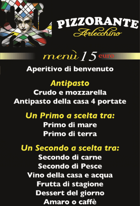 menu fisso 15 euro