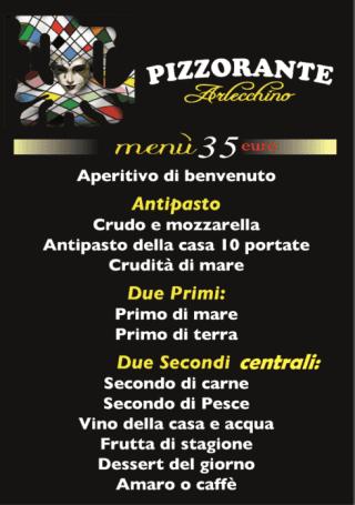 menù fisso 35 euro