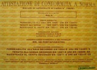 Certificazioni infissi