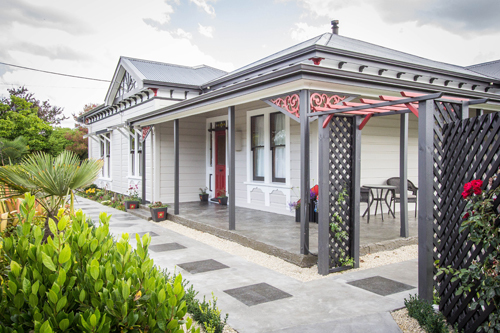 View of the entry of the house with a professional exterior paint work in Wairarapa