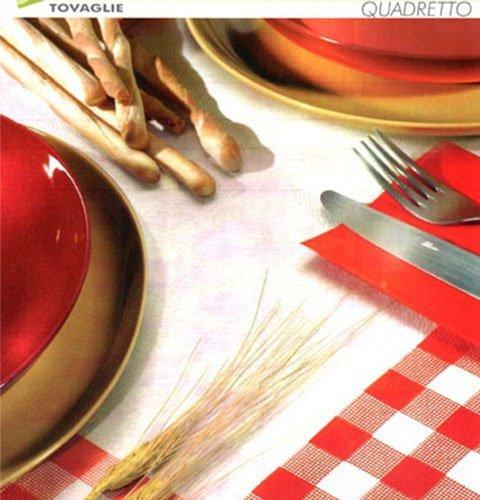 un tavolo apparecchiato con tovaglie e tovaglioli di carta di color bianco e rosso