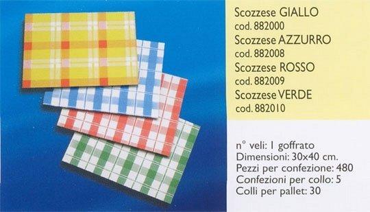 dei tovaglioli scozzesi di carta di vari colori