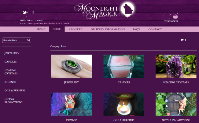 Moonlight and Magick eCommerce Category Page
